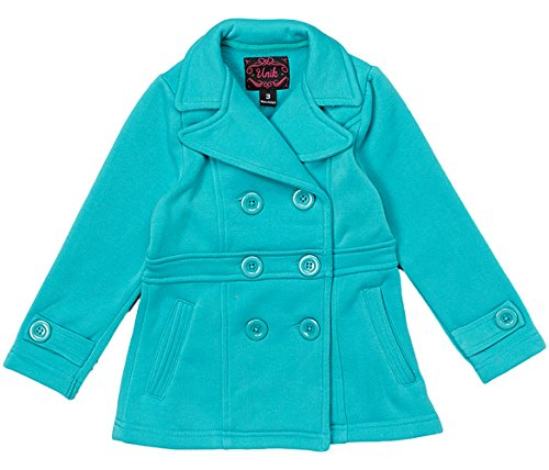 unik Girl Fleece Coat with Buttons, Teal Size Large