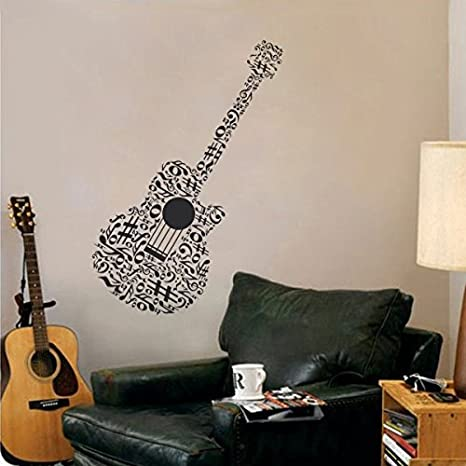 WallsUp Música Guitarra Mural de Pared decoración Vinilo de Notas Musicales Boy Girl Dormitorio Decoración, Vinilo, marrón, 46