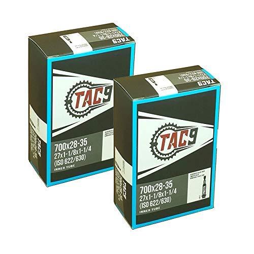 2 Pack - Tubes, 700c x 28-35 (27x1-1/8 to 1-1/4) PV 48mm Presta Valve, Bicycle Inner Tubes