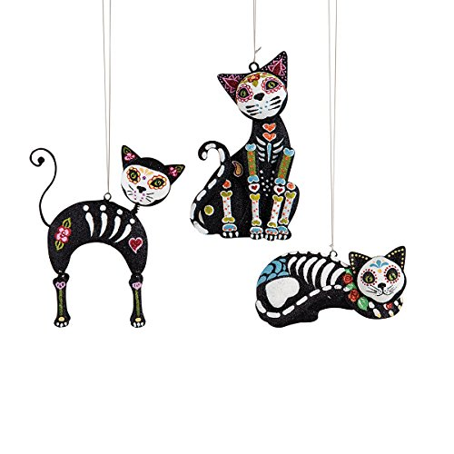 GALLERIE II 5-in. Metal Ornaments,Sugar Skull Cats,Assorted 3]()