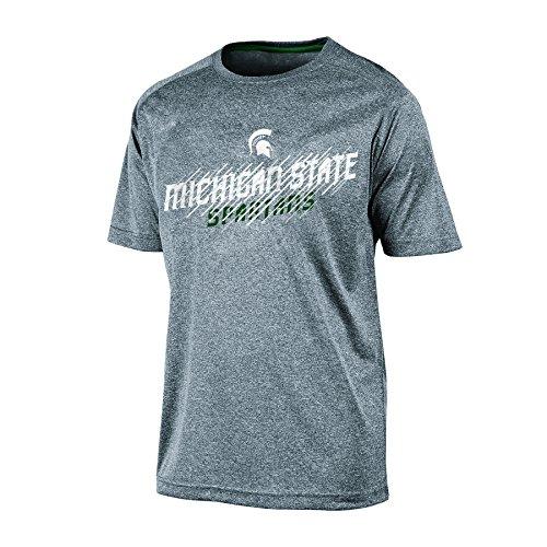 Champion NCAA Michigan State Spartans Adult Men Short sleeve Crew Neck RA, Medium, Gray Heather