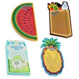 Set of 4 Magnetic Shopping List Memo Pads - Fun Produce Shapes