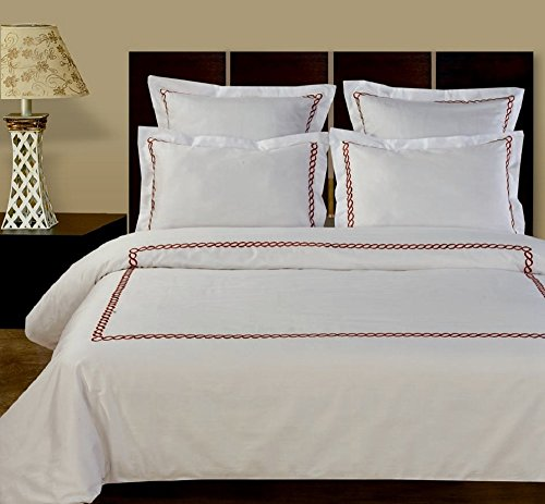 10-PC White & Wine Queen size Amy Embroidered Down Alternative Bed in a bag Comforter set including Cotton Duvet set+ sheet set+ down alternative comforter By sheetsnthings