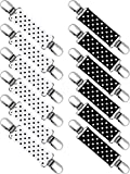 Zhanmai 6 Pairs Elastic Mitten Clips Stainless Steel Glove and Mitten Clips for Kids and Adults (Black Dots and White Dots, 13 cm)