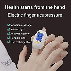 Electric Finger Massager, Woolala Vibration Hand Massage Infrared Warmer Finger Acupressure for Stiff Joints Stress Relief, LED Screen and Timer