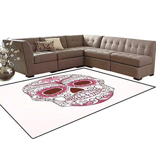 - Sugar Skull Decor Room Home Bedroom Carpet Floor Mat Mexican Ornaments Calavera Catrina Inspired Folk Art Macabre Door Mats Area Rug 6'6