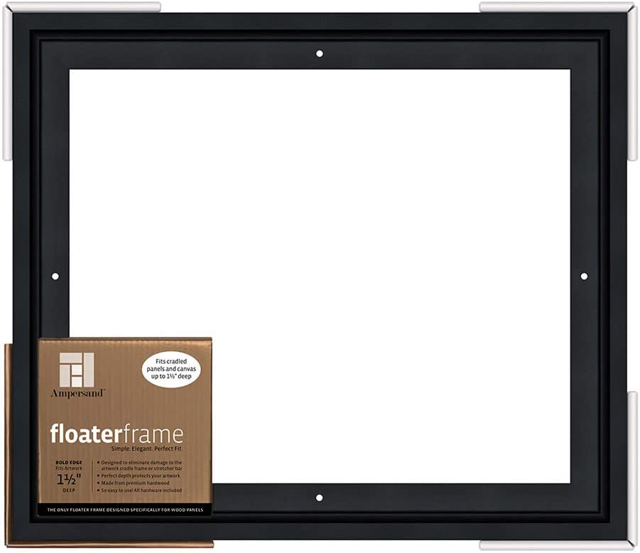 Black Ampersand Floaterframe for Wood Panels FBOLD150808B 1.5 Inch Depth 8X8 Inch Bold