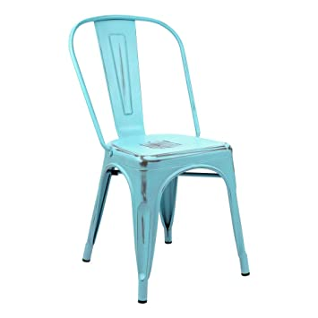 Vaukura Silla Tolix - Silla Industrial Metálica Vintage (Azul ...