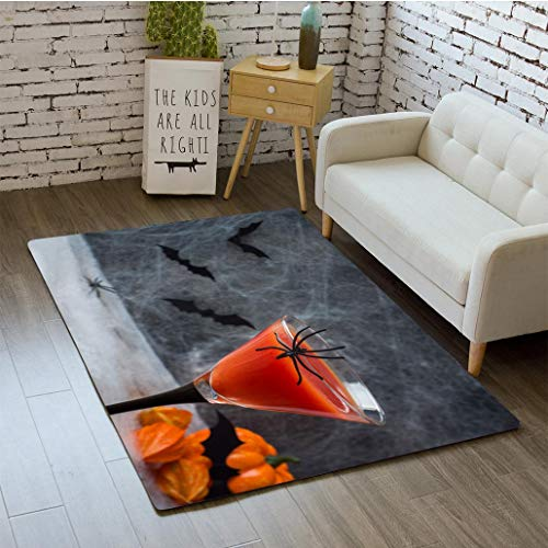 MTSJTliangwan 3D Printing Bloody Mary Cocktail Pumpkin with Bats and Spiders for Halloween Selective Focus Bathroom Carpet Flannel Foam Shower mat Absorbent Living Room Kitchen Door Carpet Floor -