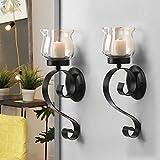 DecentHome Decorative Hurricane Pillar Candle Wall Sconces Holder Iron Finish Curly Shaped Set of 2 Black