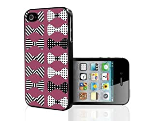 Black and Pink Stripes and Polka Dot Bows Hard Snap on Case (iPhone 5/5s)