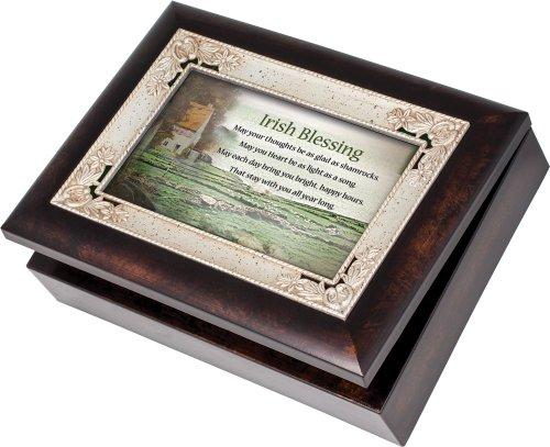 Cottage Garden Irish Blessing Burlwood With Silver Inlay Italian Style Music Box/Jewelry Box Plays Irish Eyes