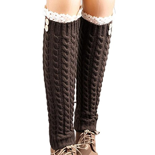 Wintialy Winter Warm Knitted Socks Leg Warmers Boot Crochet Long (B) from Wintialy