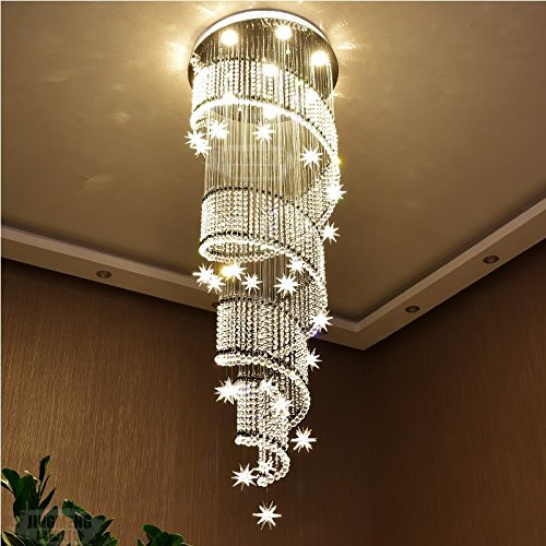 Moooni Modern Spiral Meteor Shower Crystal Chandelier Lighting for Foyer Staircase Porch Hallway D 20″ x 71″ H Review
