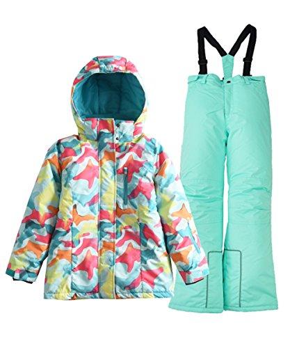 Hiheart Girls' Winter Warm Snowsuit Hooded Snow wear Jacket + Pants 2 PCS Set Blue 6/7