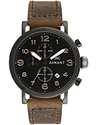 AIMANT Mens Rotterdam Black with Brown Leather Band Watch GRO-210L5-11