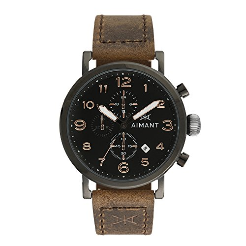 AIMANT Men's Rotterdam Black with Brown Leather Band Watch GRO-210L5-11