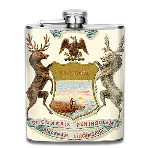 CZZD Michigan State Coat Of Arms Portable Stainless Steel Flagon Whiskey Wine Bottle