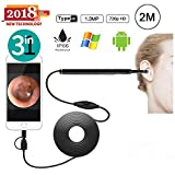 OVEHEL Ear Otoscope 1.3MP 720P HD Ear Scope Inspection Camera 3 In 1 USB Ear Digital Endoscope Earwax Cleansing Tool with 6 Leds for Micro USB,USB-C Android Phone,Windows MAC PC-Black(6.5FT)