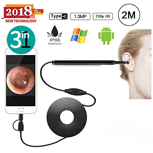 OVEHEL Ear Otoscope 1.3MP 720P HD Ear Scope Inspection Camera 3 In 1 USB Ear Digital Endoscope Earwax Cleansing...