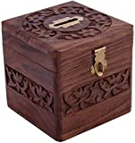 Crafts'man Beautiful Indian Handmade Wooden Money Bank in Square Shape 4x4 inch by Vian