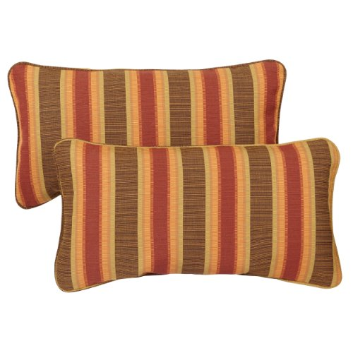 Mozaic Company Sunbrella Indoor/ Outdoor 12 by 24-inch Corded Pillow, Dimone Sequoia, Set of 2