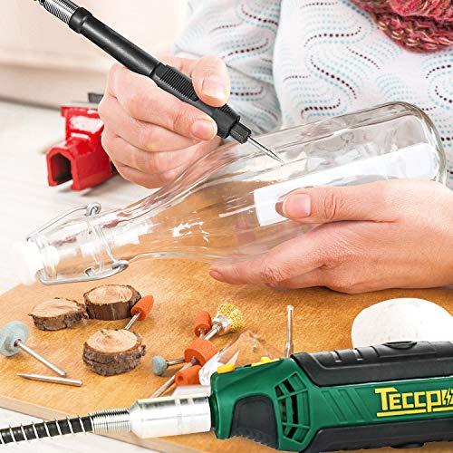 Mini Amoladora Eléctrica, TECCPO Herramienta Rotativa Tool 135W, 10000-35000 tr/min, 114 Accesorios Kit Eléctrico de 6 Velocidades con Caja Rígida, Ideal Para Cortar/Pulir