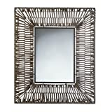 Accent Plus Bathroom Wall Mirrors, Modern Wall Mirror Decor Brown Plastic Faux Rattan