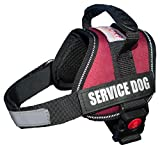 ALBCORP Reflective Service Dog Vest Harness, Woven Polyester & Nylon, Adjustable Straps, Comfy Mesh Padding, with 2 Hook and Loop Removable Patches, XS, Maroon/Wine Color