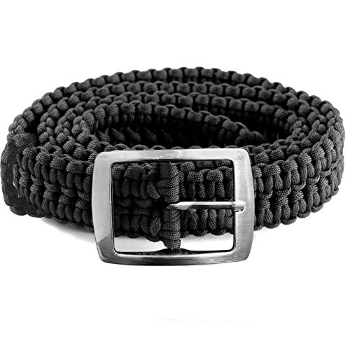 EliteMax Paracord Survival Belt with Metal Buckle - Black