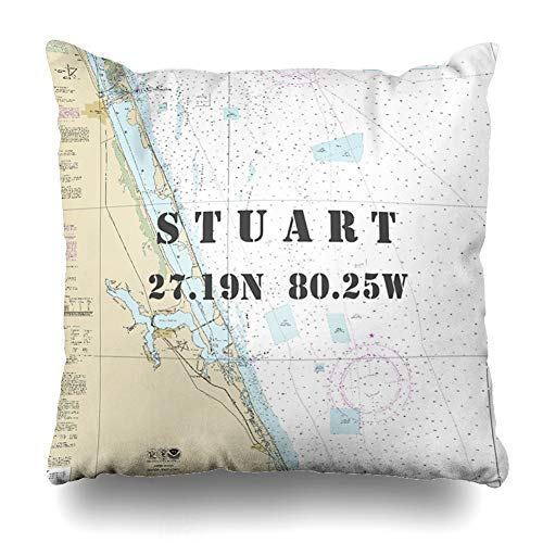 Ahawoso Throw Pillow Covers Stuart Florida Nautical Chart Latitude Longitude Pillowslip Square Size 16 x 16 Inches Cushion Cases Pillowcases