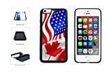 Canada and USA Mixed Flag Dual Layer Phone Case Back Cover Apple iPhone 6 Plus and iPhone 6s Plus (5.5 Inches) includes BleuReign(TM) Cloth and Warranty Label