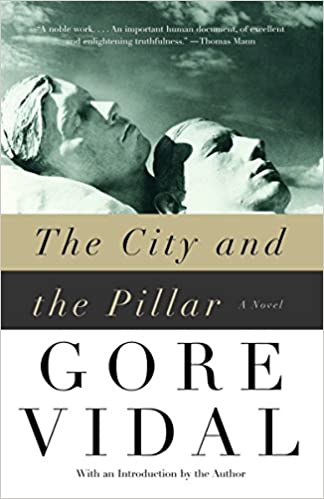 Cover of the book Gore Vidal's The City and the Pillar (a black and white image, two sculptures of male heads rest beneath an open sky)