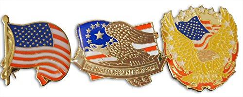 Patriotic Bleeding Heart American 3-Piece Lapel or Hat Pin & Tie Tack Set with Clutch Back by Novel Merk