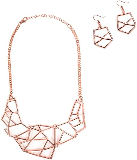 ACOCO Chunky Chain Necklace - Thick Chain Trendy Necklaces Cable Link Chain for Women Chunky Necklace Punk Metal Fashion Necklace for Girls Cuban Link Chain Choker +Earrings