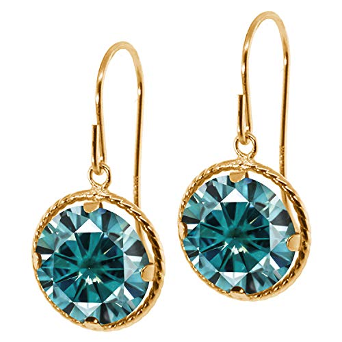 (14K Yellow Gold Dangle Earrings Blue Round Created Moissanite 3.80ct DEW)