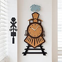 MCC Train Wall Clock Creative Personality Fashion Children's Gift Mute , brown