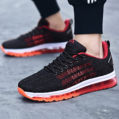 Mode Montante Antichoc Sneaker Jogging de Non D'air Course Coussin Homme Slip Noir de Running LFEU Fitness Basket Chaussure Rouge WaqwFYwv