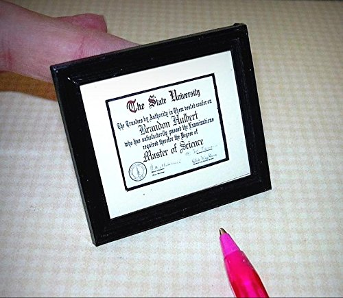 Miniature Diploma, MS Master of Science w/SEAL and NAME: DOLLHOUSE 1/12 - My Mini Garden Dollhouse Accessories for Outdoor or House Decor (Fairy Names Garden)