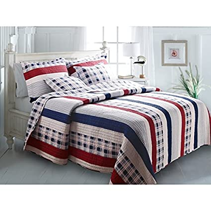 Amazon Com D H 3 Piece Madras Blue Red White Striped Quilt King Set