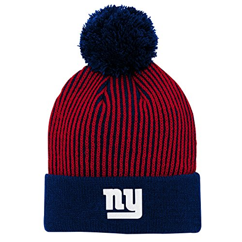 Outerstuff NFL New York Giants Youth Boys Hidden Rib Cuffed Knit Hat with Pom Dark Royal, Youth One Size