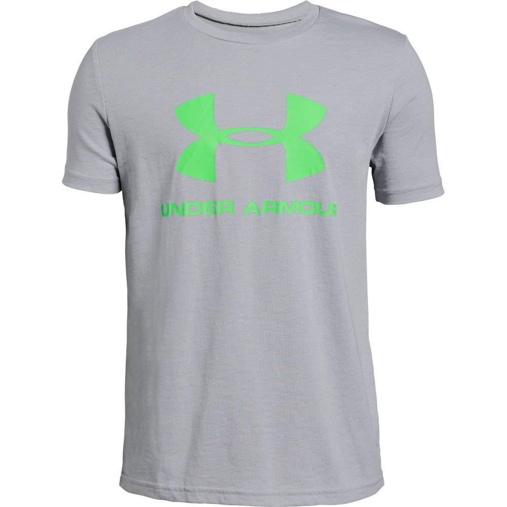 Under Armour Boys' Sportstyle Logo Short Sleeve T-Shirt, Mod Gray (011)/Zap Green, Youth Medium