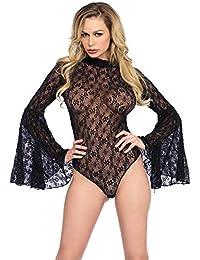Leg Avenue Womens High Neck Stretch Lace Bell Sleeve Bodysuit Babydoll Lingerie