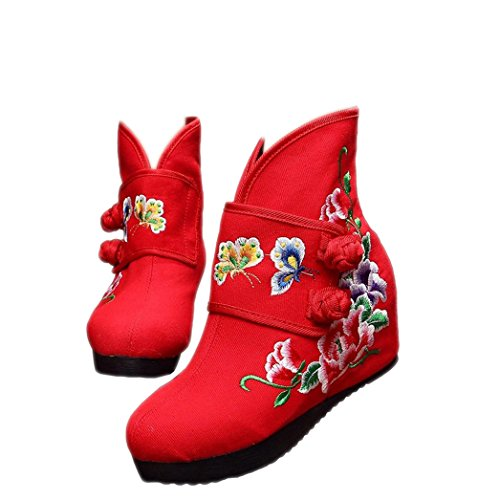 Lazutom Women Lady Chinese Style Autumn Winter Embroidery Wedge Ankle Boots Canvas Shoes Red with With Cotton Lining e0voCOqe