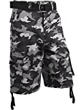 Hat and Beyond IH Mens Twill Cargo Shorts with Belt Loose Fit Cotton Multi Pocket Outerwear (42/g. iha03_Gray camo)
