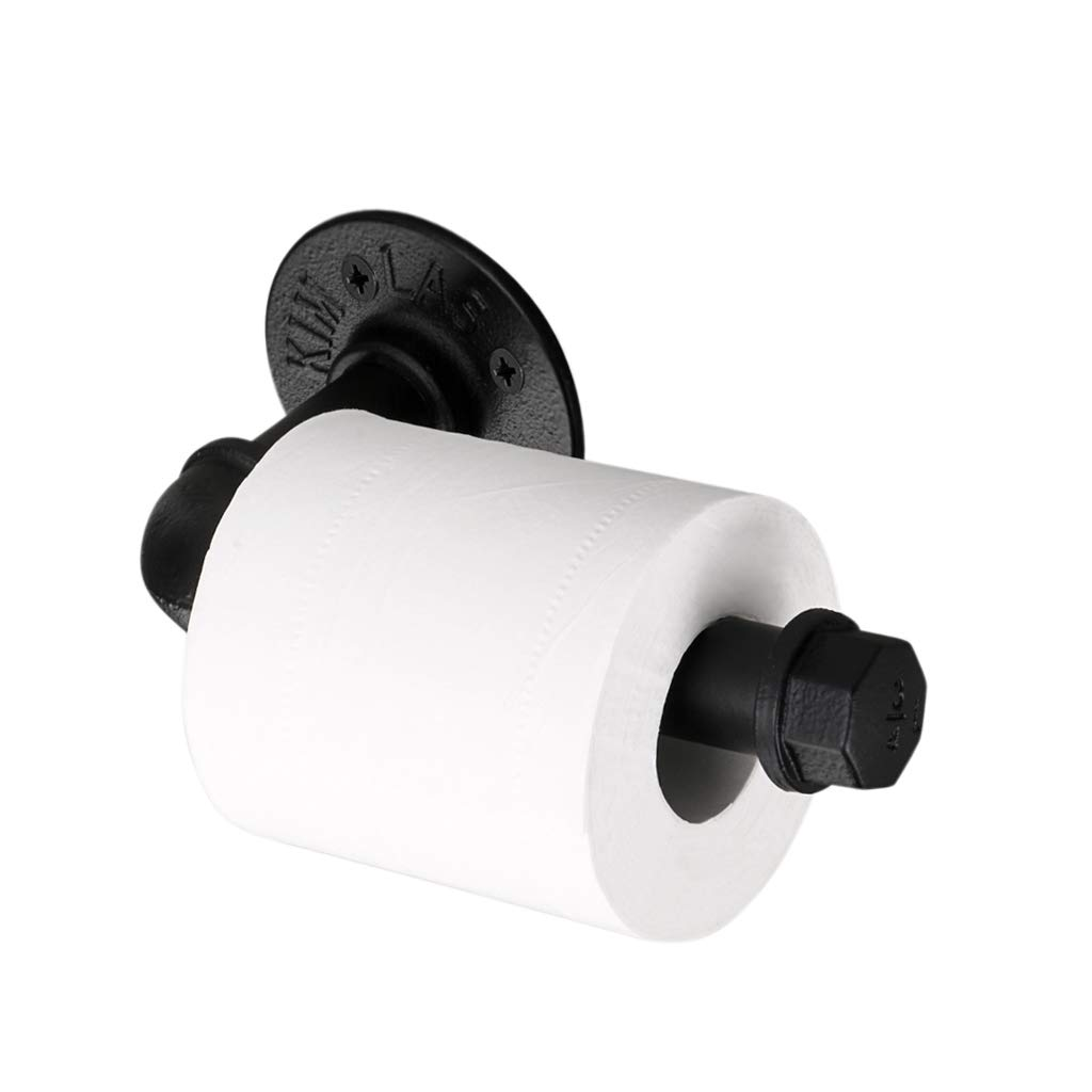 BTSKY Vintage Industrial Pipe Toilet Paper Holder - Wall Mounted Retro Toilet Roll Holder, Bathroom Accessories, Black