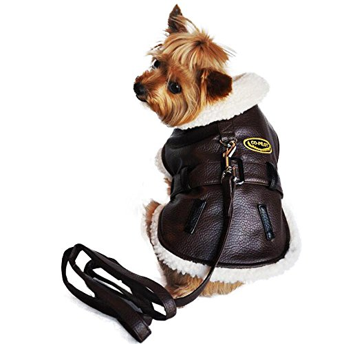 Doggie Design Chocolate Brown Soft Faux Leather Belted Bomber Jacket Harness with Leash in Dog Size X-Large (Back Length 17
