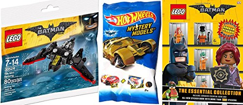 Hot Wheels 2017 Exclusive Blind Bag Mystery Model + DC Comics Lego Batman Batwing plane action vehicle & Essential Collection Exclusive Penguin Mini Figure / Guide / Stickers & Book