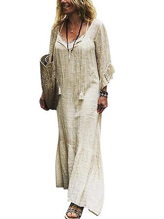 bieten viel Release-Info zu Modestil von 2019 Minetom Damen Maxikleid Lose Kleid V-Ausschnitt Langarm Vintage Boho Maxi  Kleid Elegant Strandkleid Große Größen Langes Glockenärmel