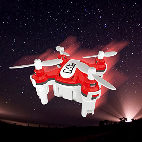 ECLEAR Mini RC Quadcopter Drone 2.4GHz 4CH 6 Axis Gyro Nano Foldable Helicopter Remote Control RTF Aircraft Toys For Adult Kids Aerial Racing - Red - Spare Parts Halloween Costume